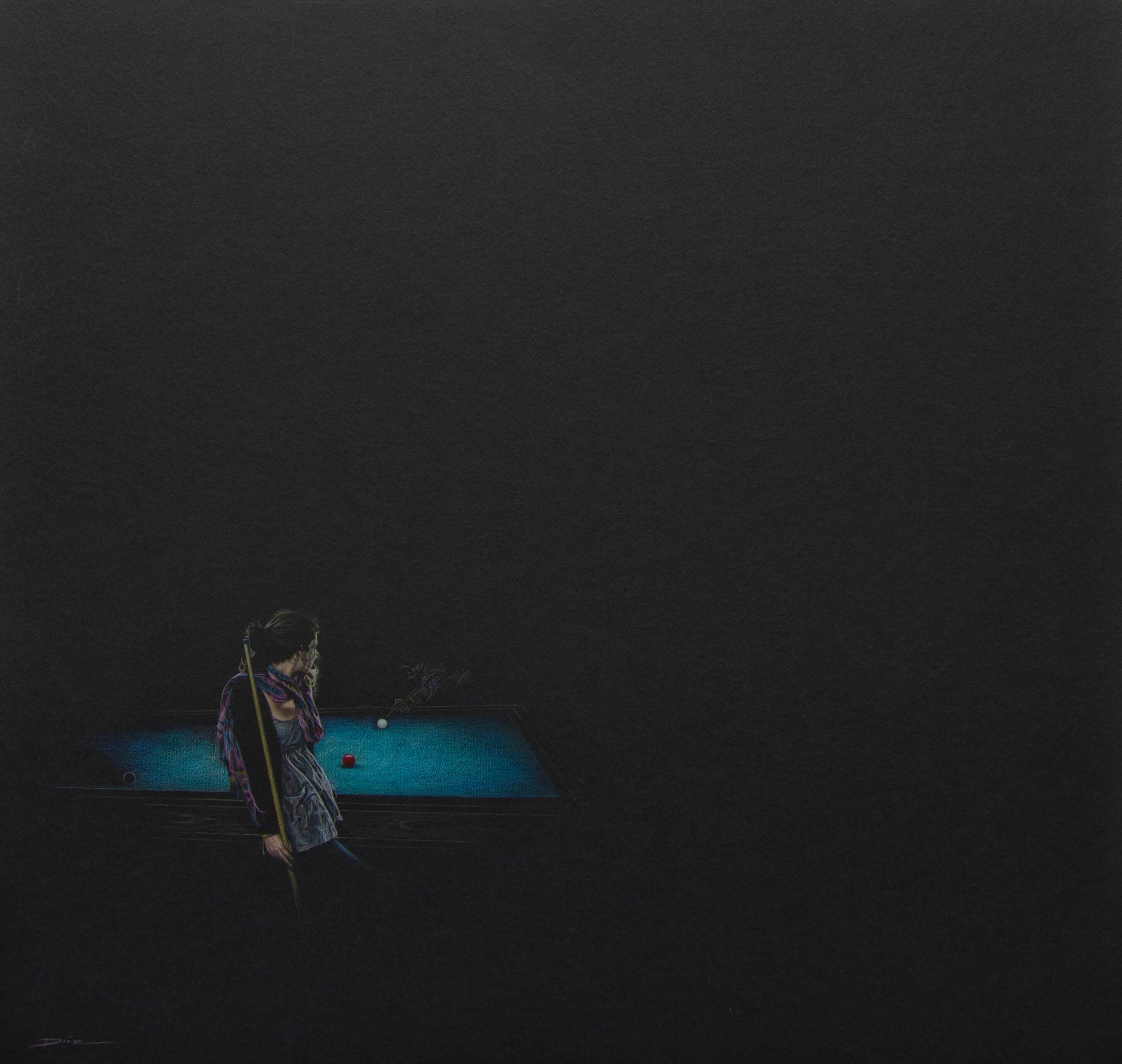 Diego Diaz artista en colombia medellin dibujo, Serie Billar, 2014. Color sobre papel